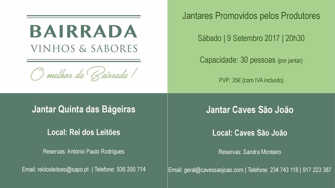Caves São João e Quinta das Bágeiras promovem jantares vínicos no âmbito do 'BAIRRADA Vinhos & Sabores'