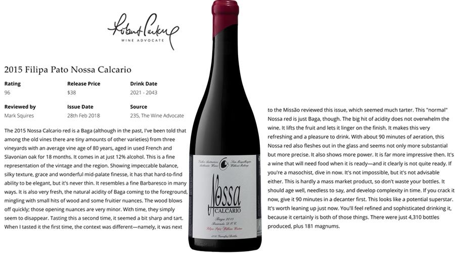 Vinho da Bairrada em grande destaque na publicação americana Robert Parker- Wine Advocate